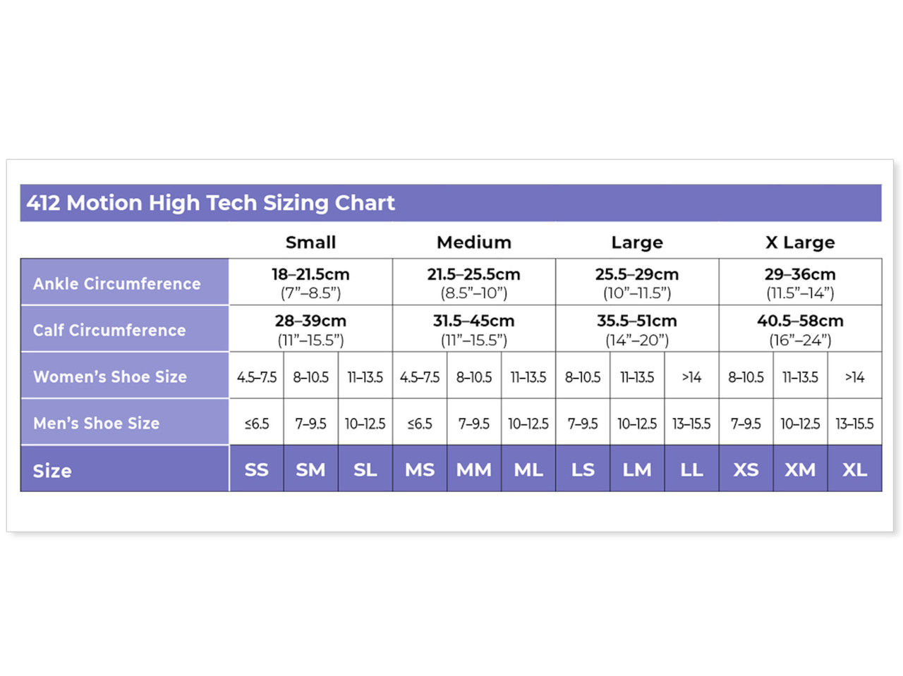 High Tech Athletic Compression Stocking  Size Guide