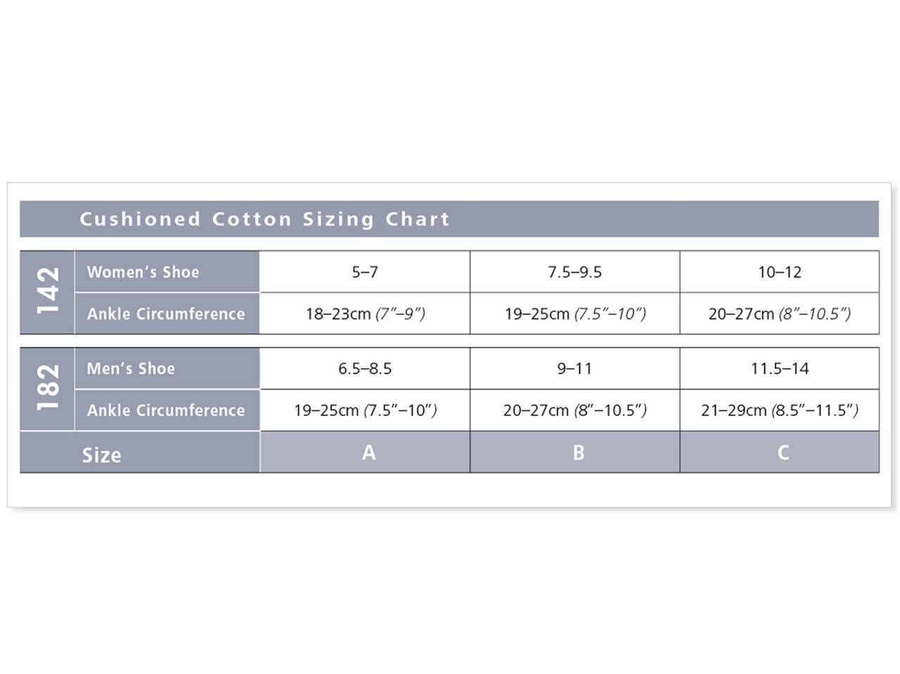 Cushioned Cotton Women's Compression Socks Size Guide