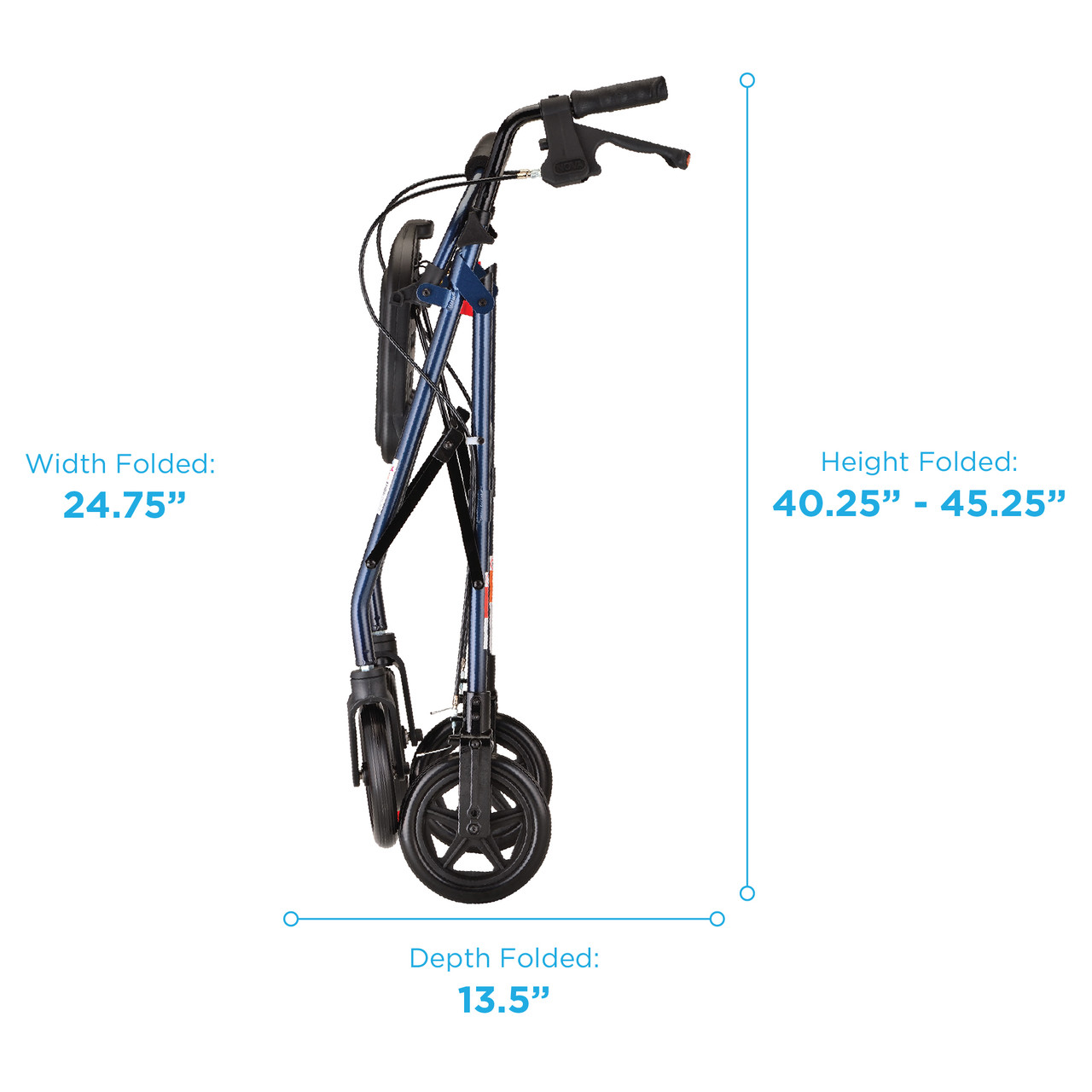 Mack Heavy Duty Rollator folded measurements