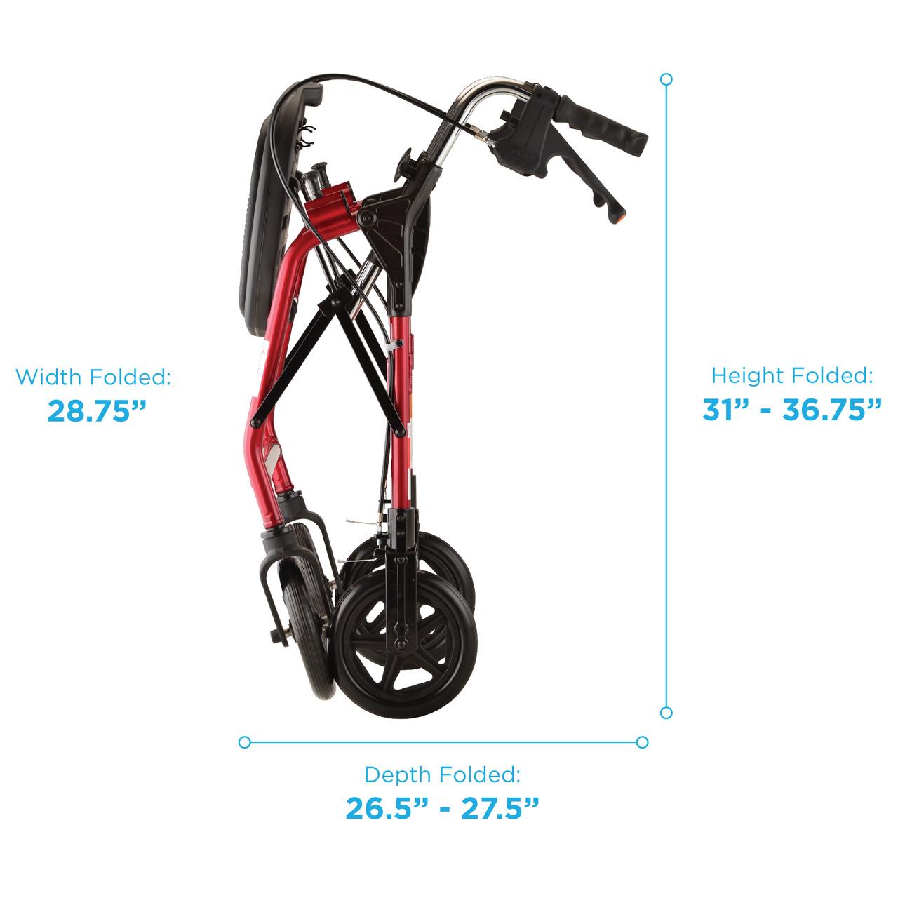 Mighty Mack Heavy Duty Rollator folded measurements