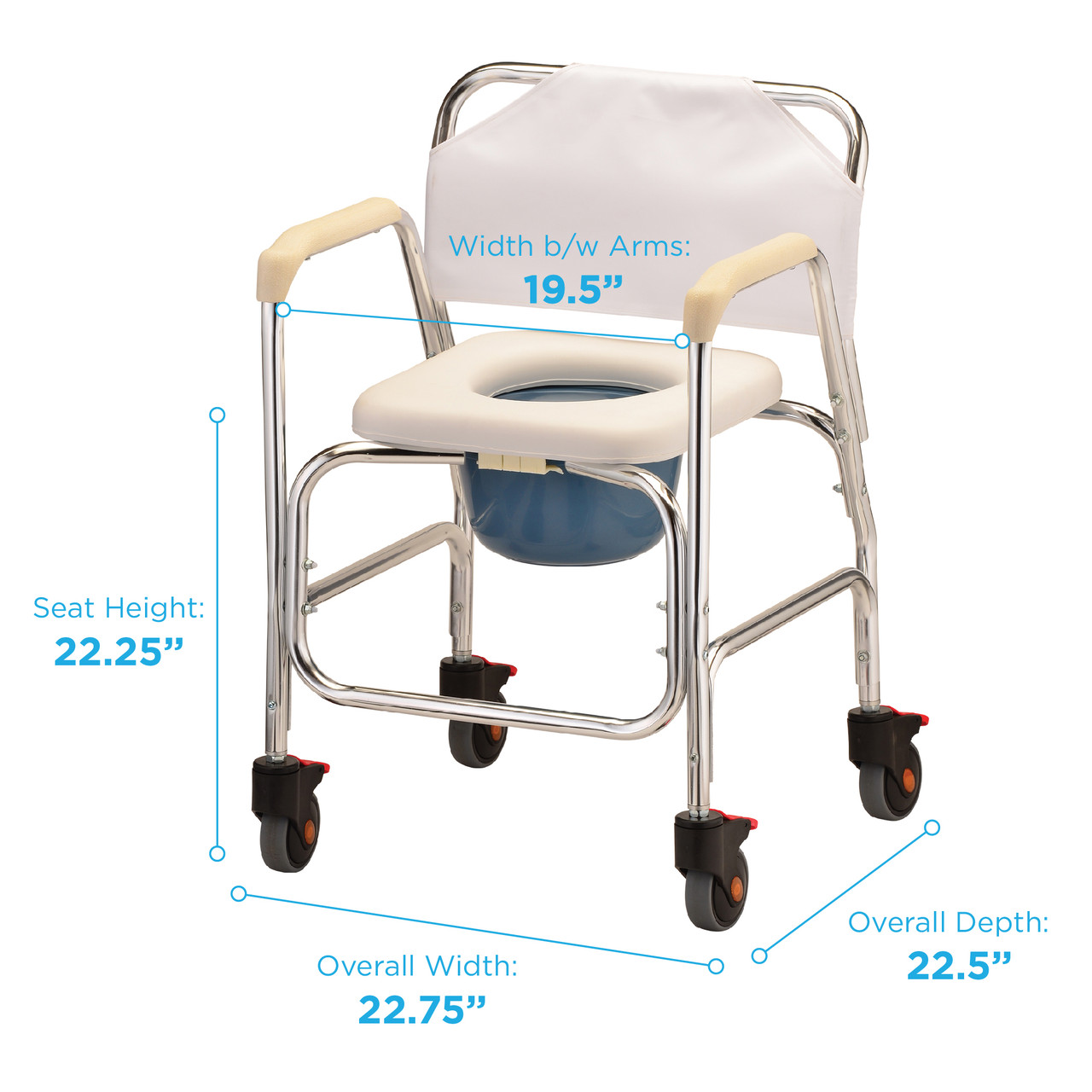 Rolling Shower Chair and Commode with measurements
