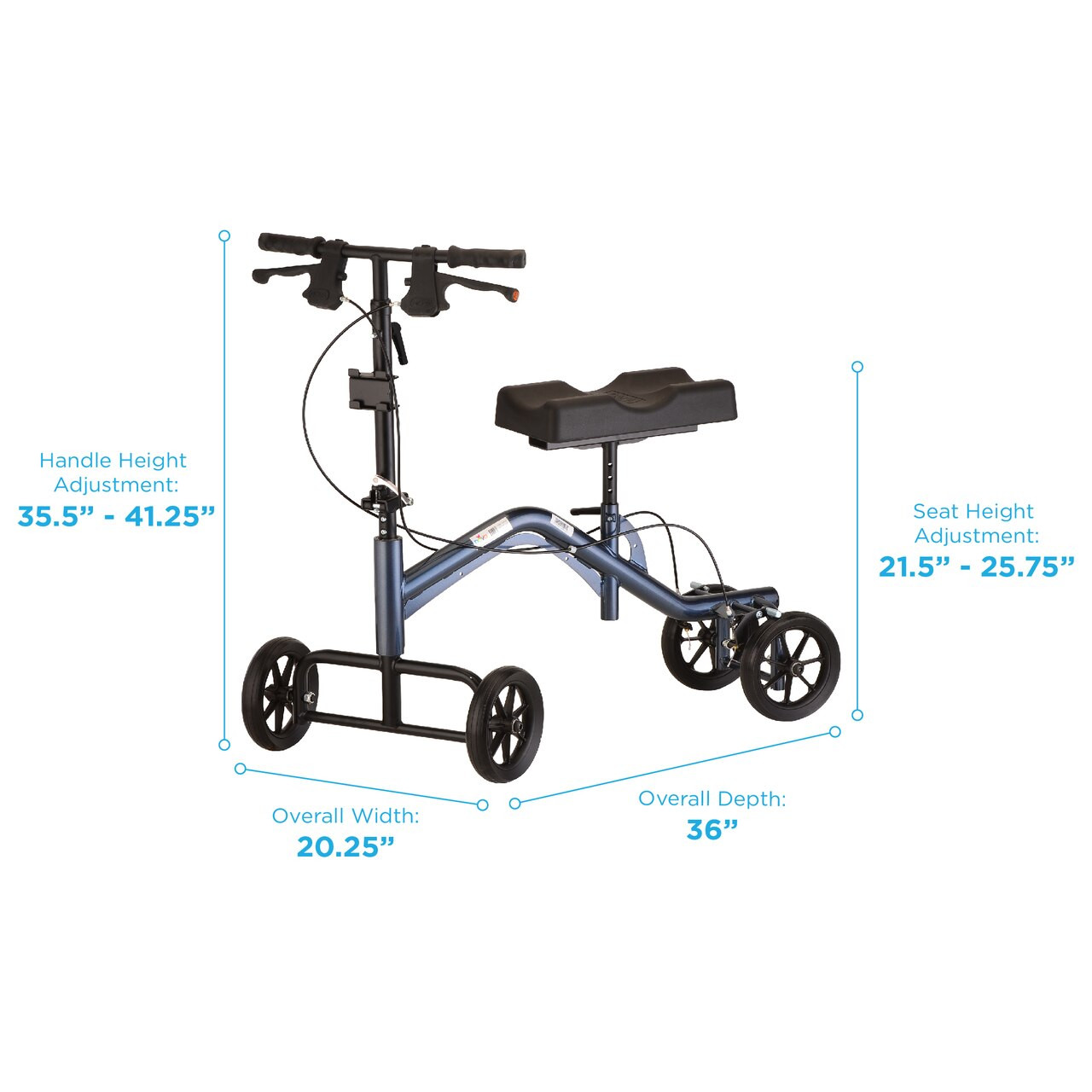 Nova Heavy Duty Tall Knee Walker / Knee Scooter demensions