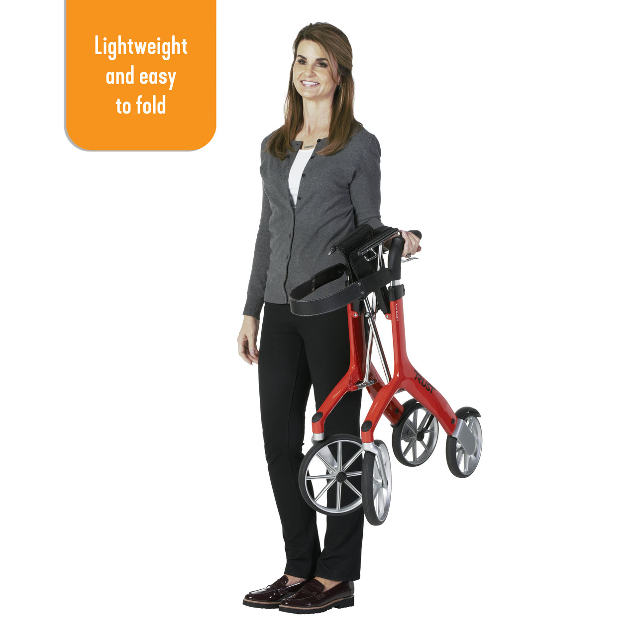 Let's Fly Rollator folded and lightweight