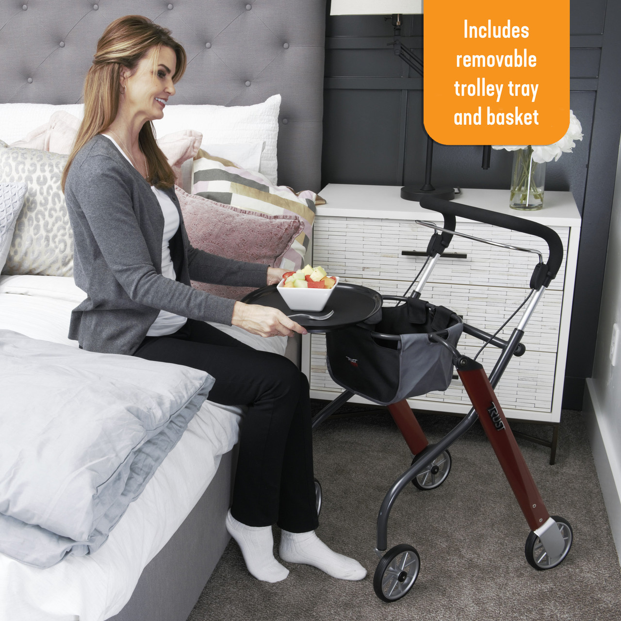 Let's Go Indoor Rollator includes a removable tray and basket