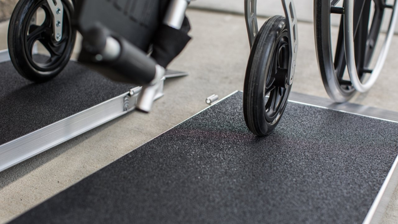 EZ-Access single fold ramp with skid resistant tape separated in two sections