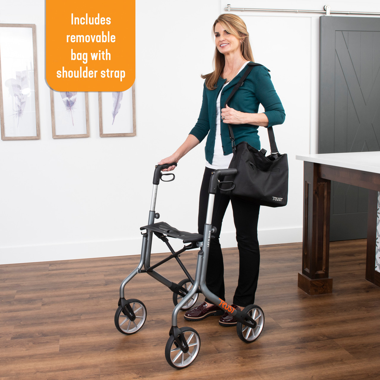 Let's Move Rollator  comes with a bag with a carry strap