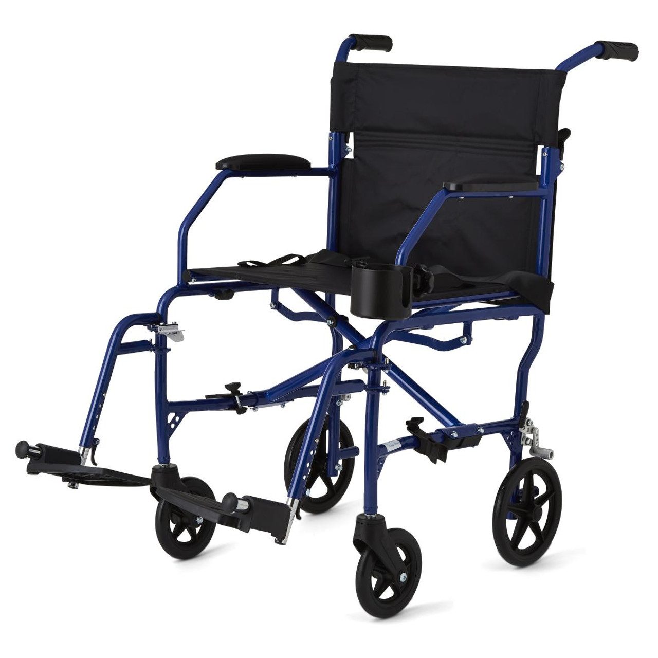 Medline Ultralight Transport Wheelchair Blue