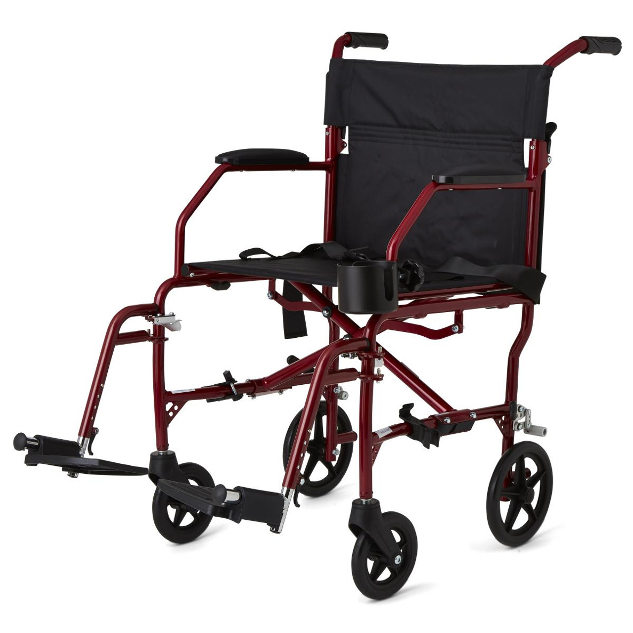 Medline Ultralight Transport Wheelchair Red