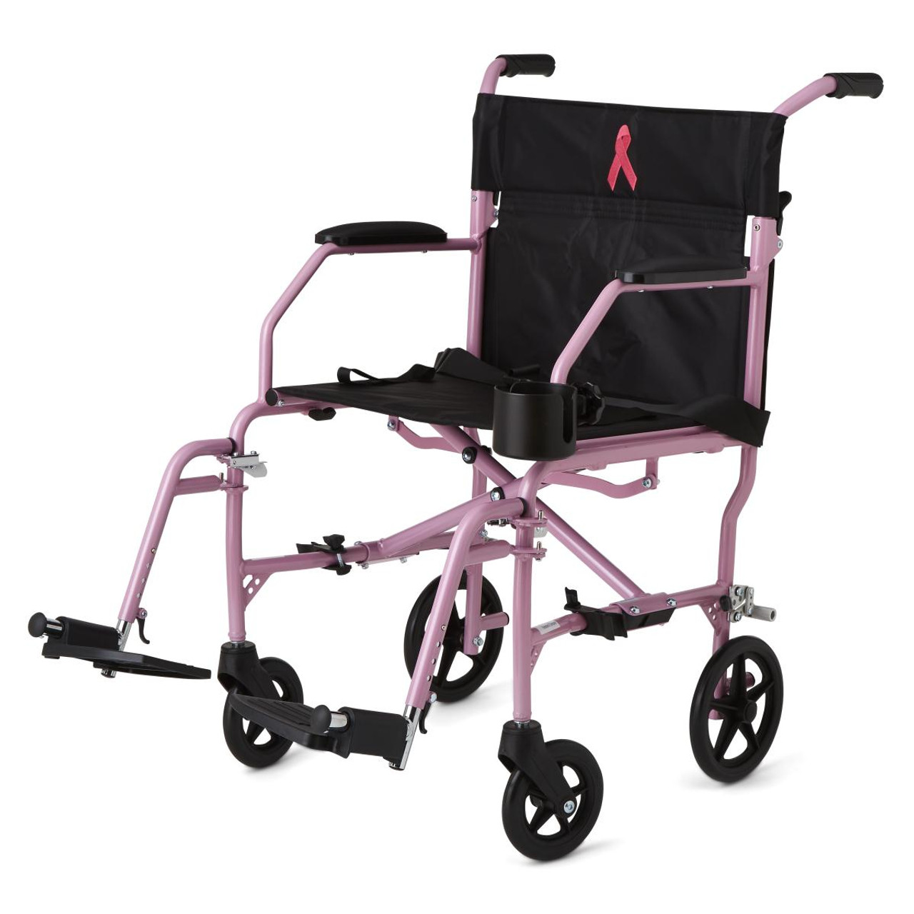 Medline Ultralight Transport Wheelchair Pink