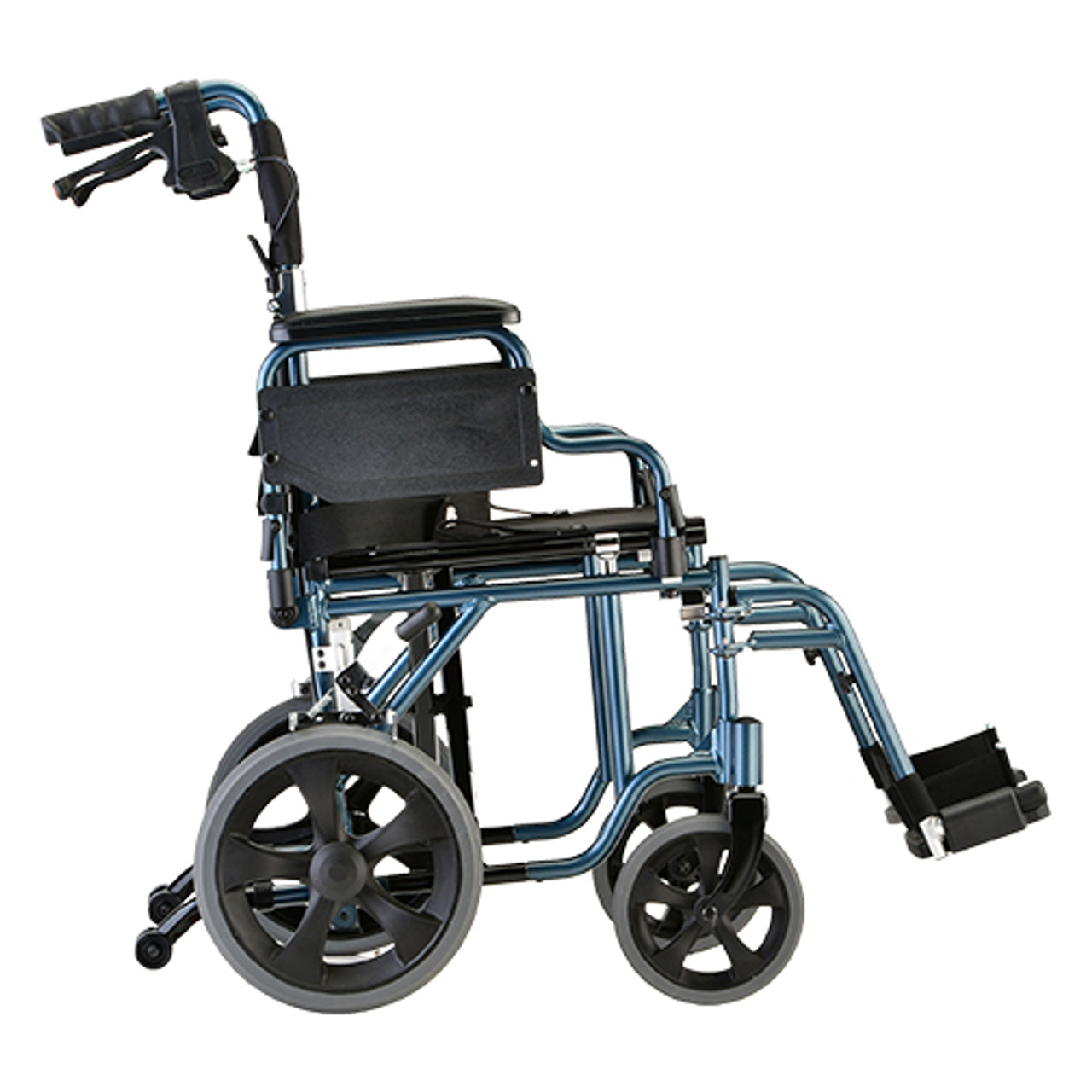 Nova model 352 19 inch transport chair with hand brakes profile view