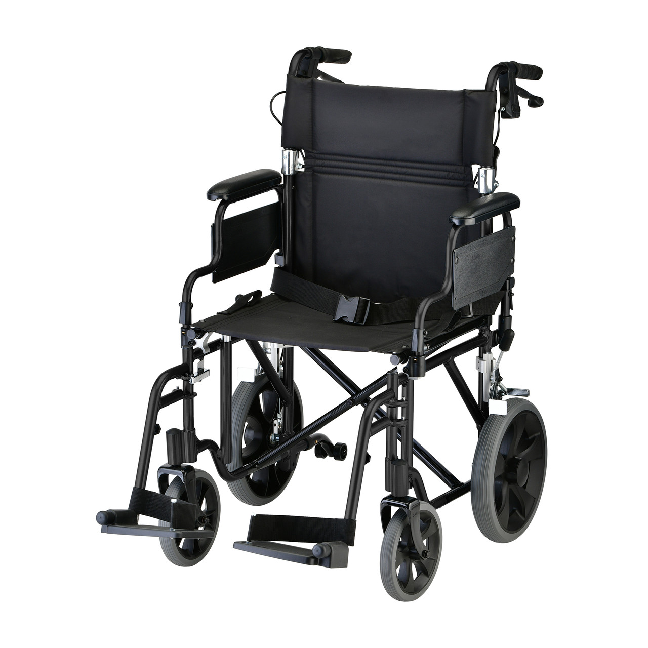 Nova model 352 19 inch transport chair with hand brakes black color