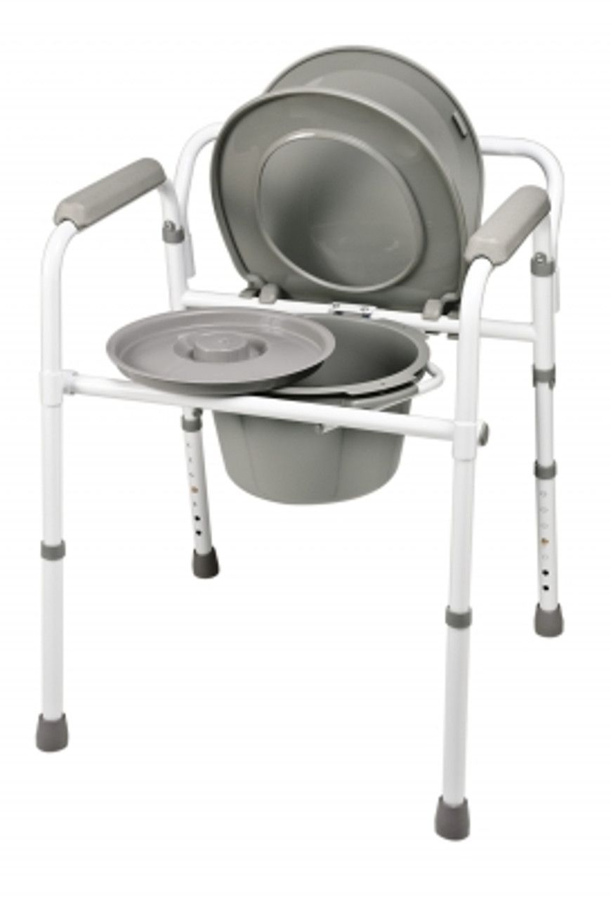 Steel folding commode with lid
