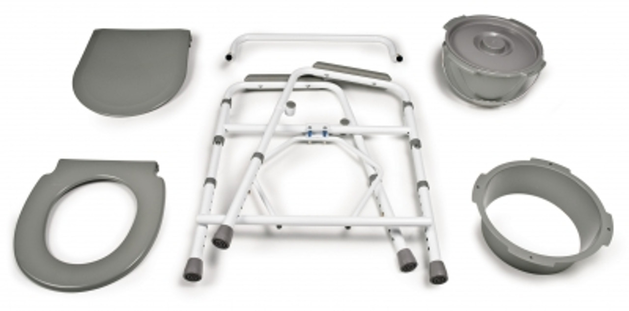 Steel folding commode disassembled for storage