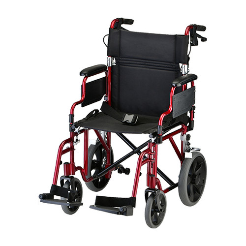 Nova model 352 19 inch transport chair with hand brakes red color