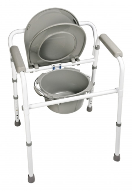 Steel folding commode