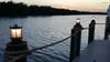 Nautical piling dock light installed on customer's dock