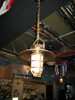 hanging hooded brass light