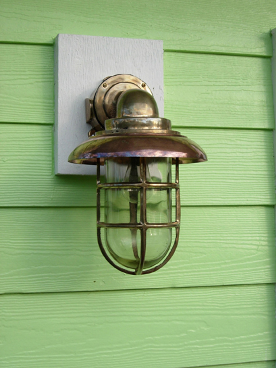 Large Passageway Nautical Dock Light with Copper Hood.  Large Size.