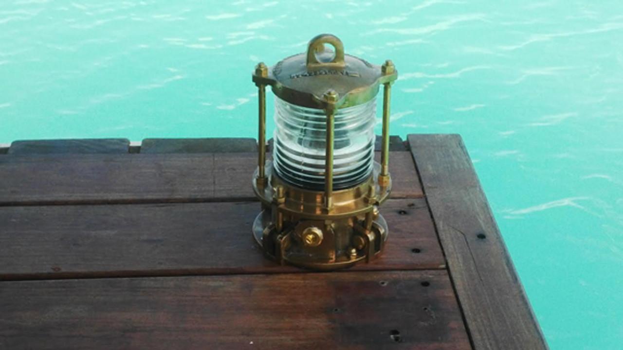 Nautical dock light installed on IPE wood