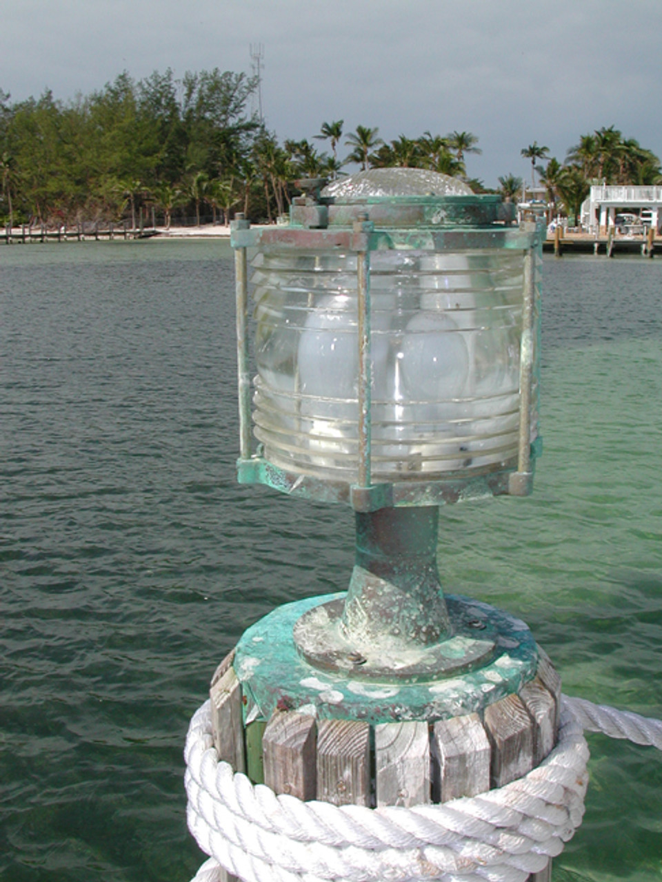 large pedestal patina dock light