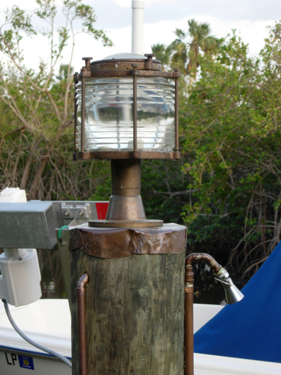 XL bronze nautical pedestal dock light