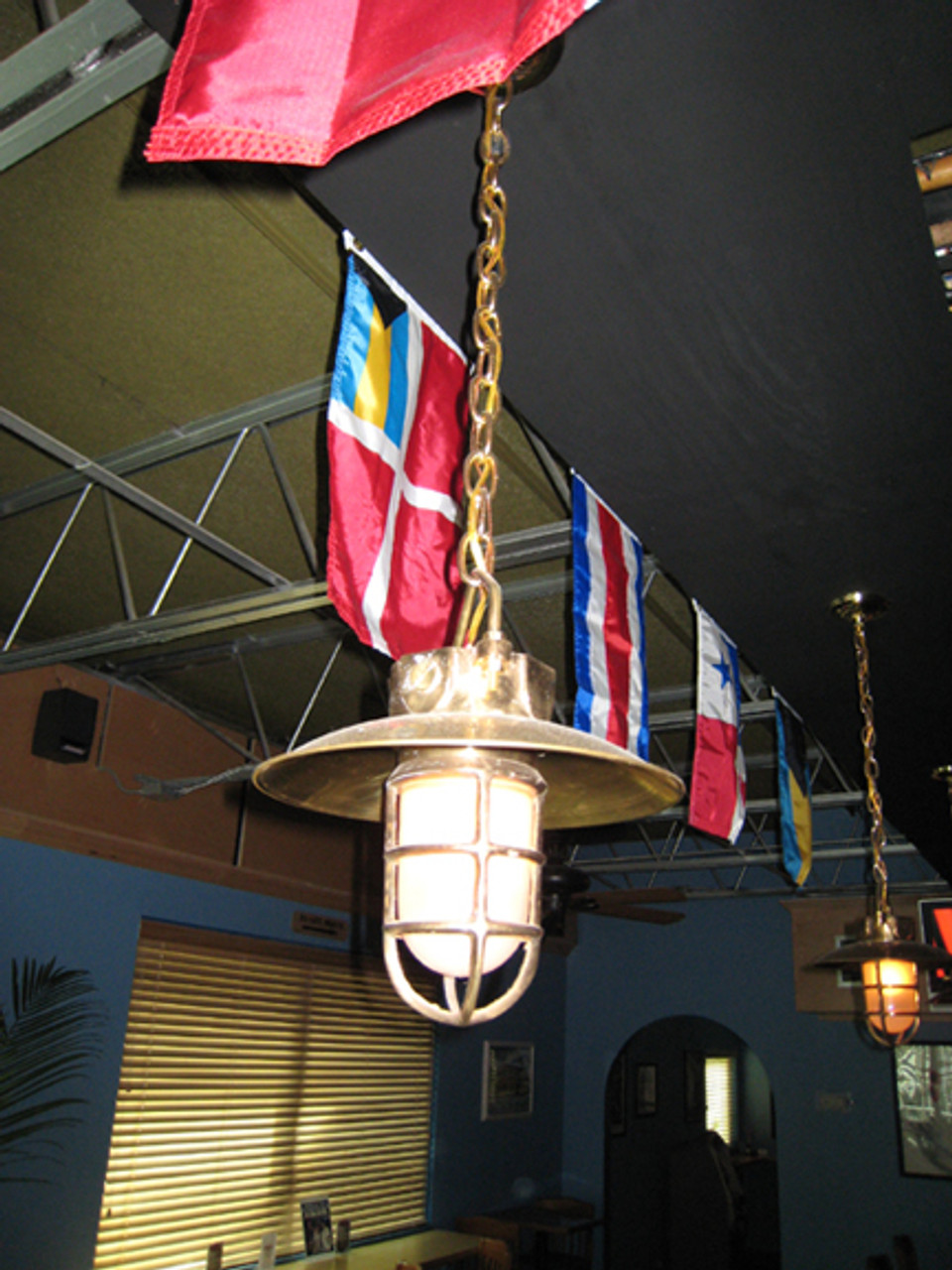 hanging hooded brass nautical light