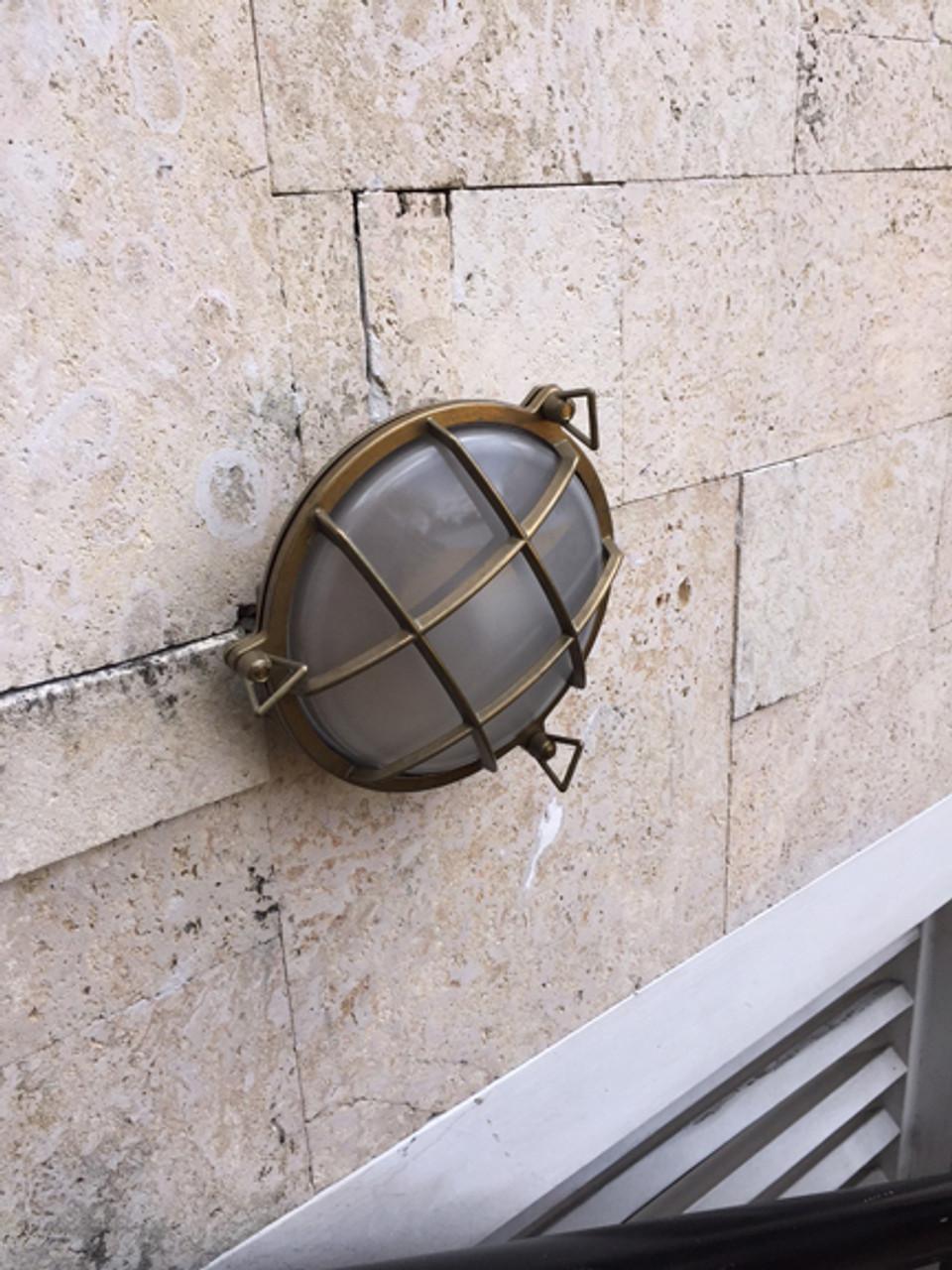brass patina bulkhead ship light