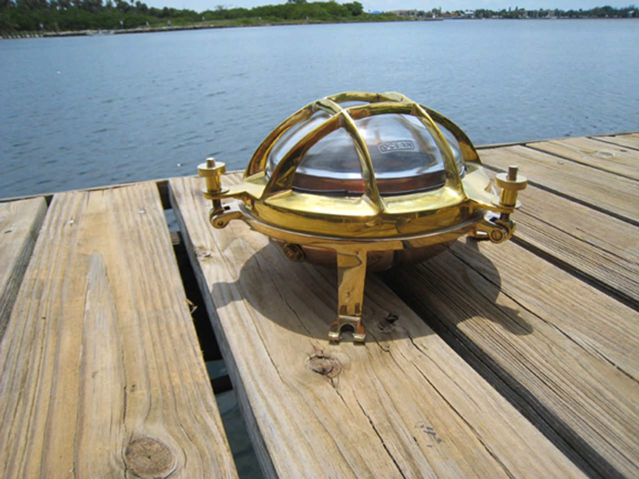 brass and copper marine bulkhead sconce light