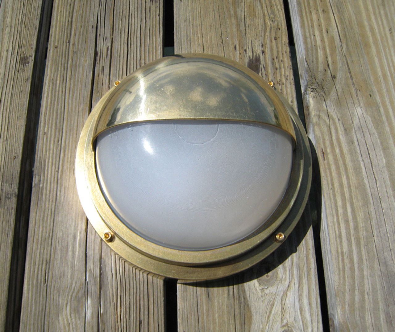Brass hooded nautical light