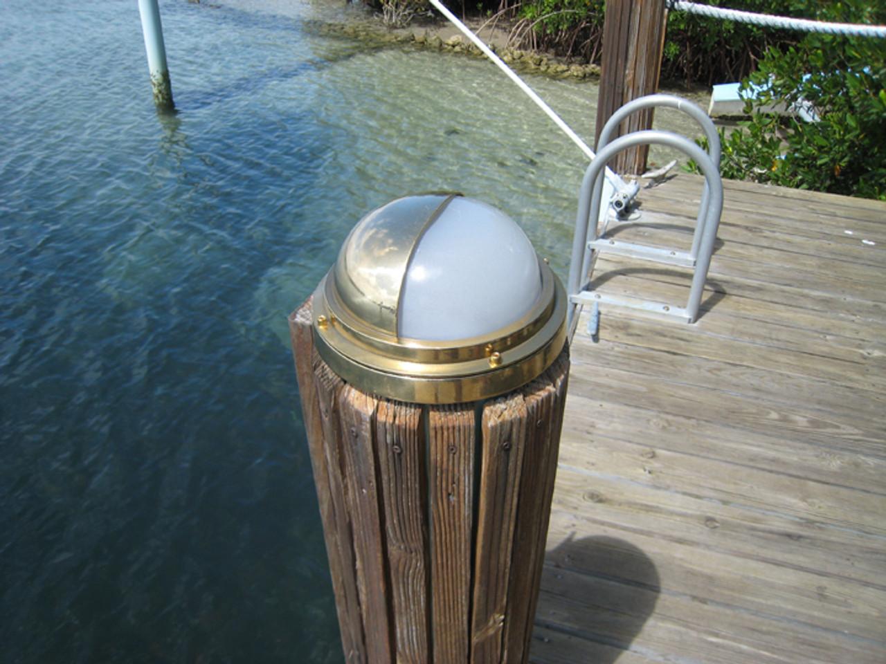 brass nautical hooded dock light