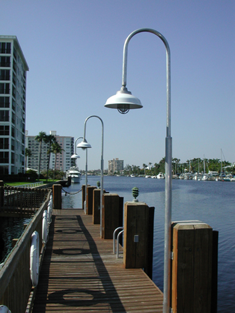 Aluminum Nautical Wharf Pole Dock Light w/Dome Shade-11 foot overall