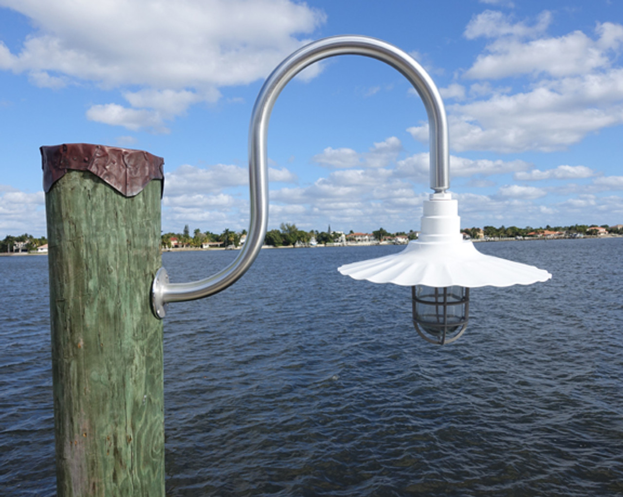 "Aluminum wall mounted wharf pole dock light- 20"" radial wave aluminum white shade"
