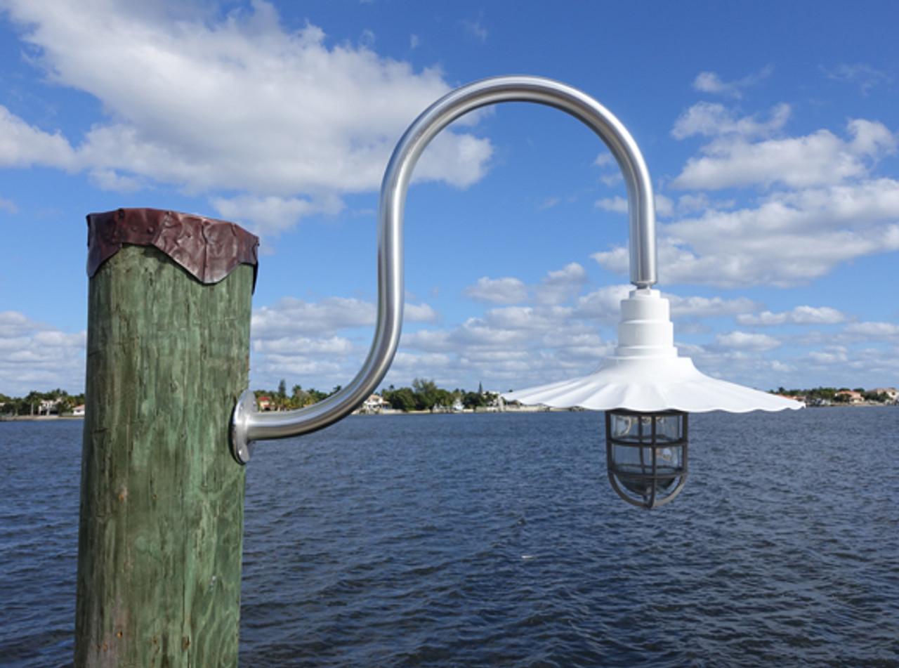aluminum wharf pole dock light with radial wave shade