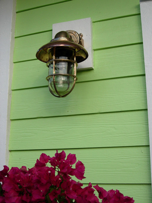Nautical Marine Passageway Dock Light w/Copper Hood - Large Size