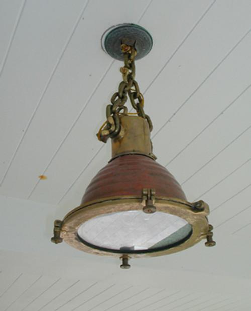 Vintage cargo copper fluted hanging nautical light-medium fox light