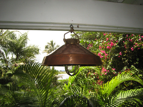 hanging nautical passageway light with copper hood