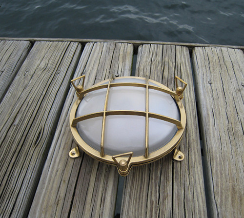 brass round bulkhead nautical light