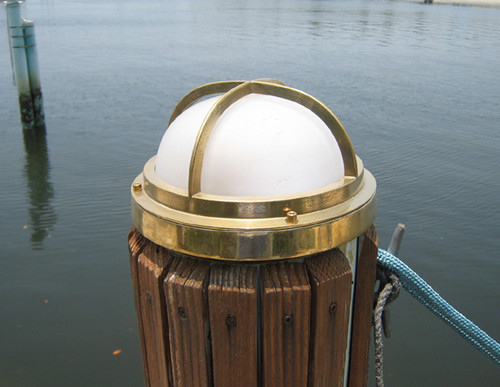 brass nautical round dock light