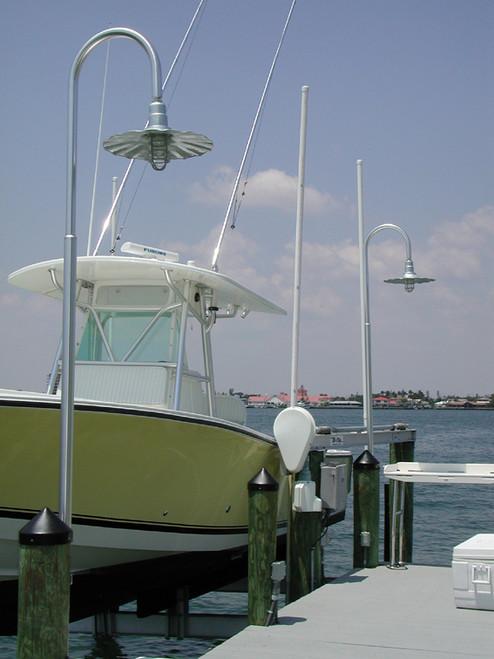 Aluminum Wharf Pole Dock Light w/Radial Wave Shade-11 foot