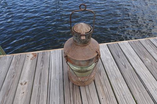 XXL Vintage Galvanized Steel Hanging anchor ship's marine lantern