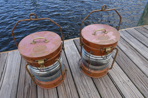 vintage copper nautical lights