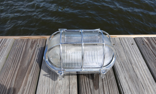 chrome oval nautical dock light