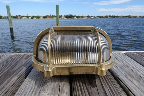 brass hooded nautical dock light