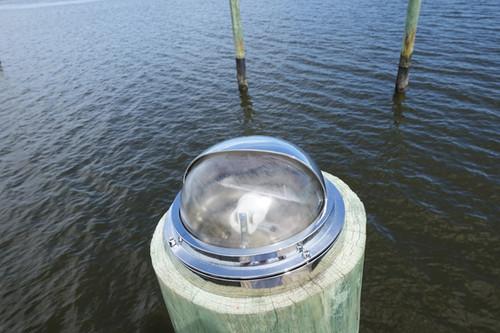 chrome round hooded marine piling dock light