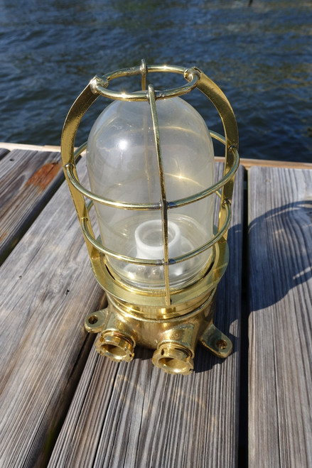 Vintage Highly polished straight passageway ship's light