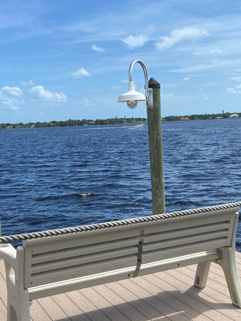 Aluminum mini wharf pole with dome shade and spin on cage