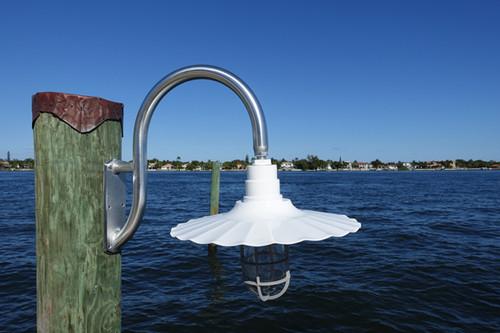 Wall mounted wharf pole marina dock light