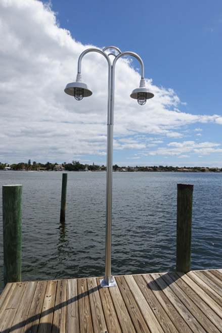 Dual dome shade nautical wharf pole aluminum light