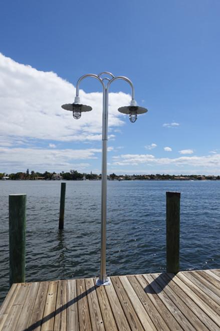 "Dual aluminum 20"" radial wave shade dock light"