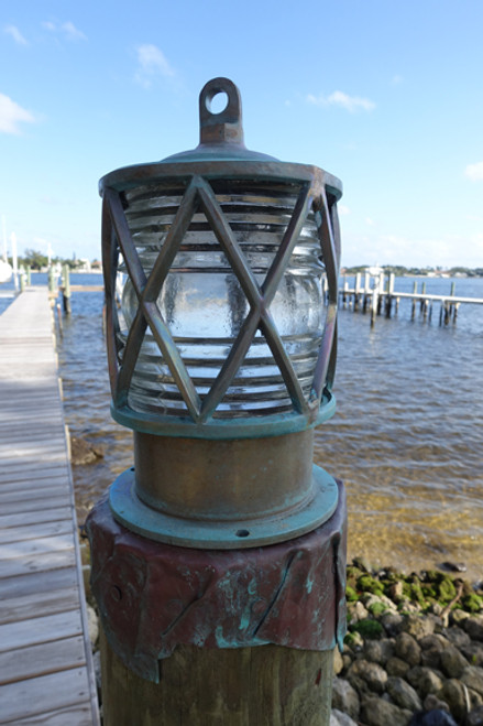 patina bronze piling dock light